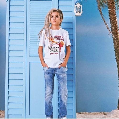 Camiseta Infantil Masculina Branca Kung Food Colcci Fun
