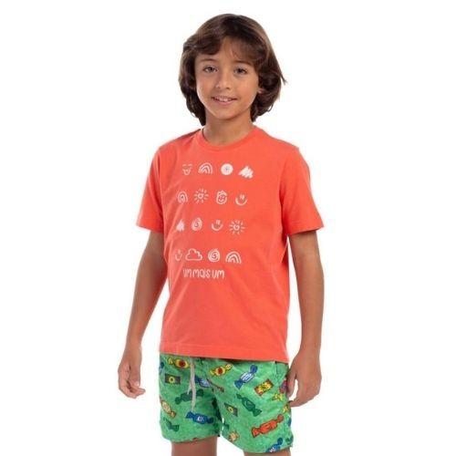 Camiseta Infantil Masculina Estampa Símbolos