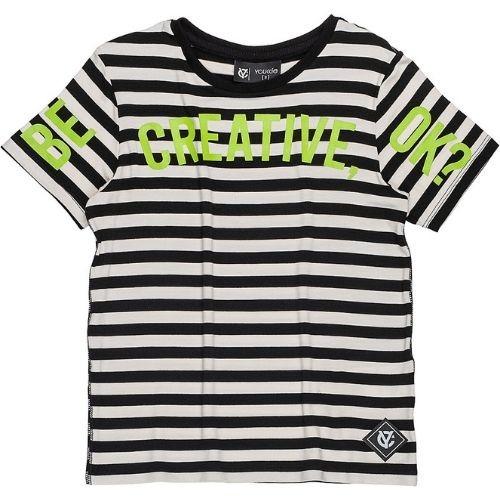 Camiseta Infantil Masculina Listrada com Detalhes em Neon