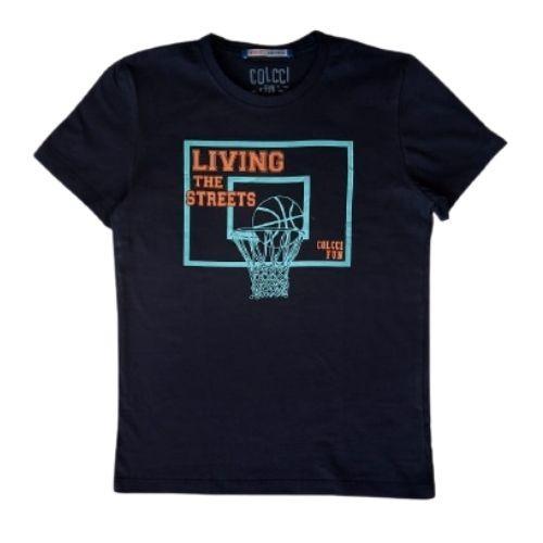 Camiseta Infantil Masculina Preta Basquete