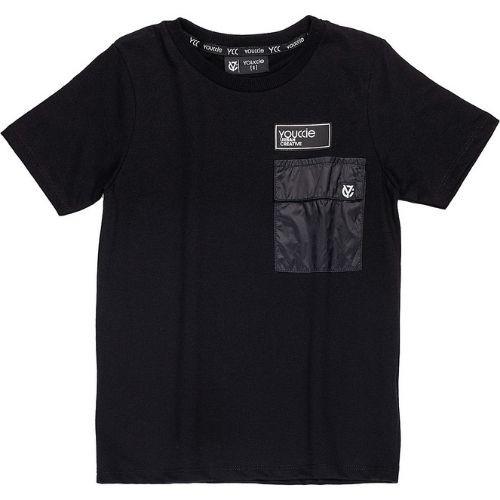 Camiseta Infantil Masculina Preta com Bolso Tactel