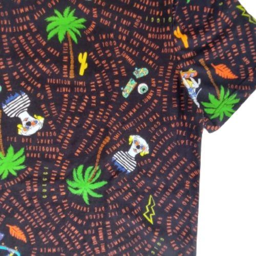 Camiseta Infantil Masculina Preta Coqueiros
