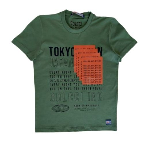 Camiseta Infantil Masculina Verde Militar Tókio Japan