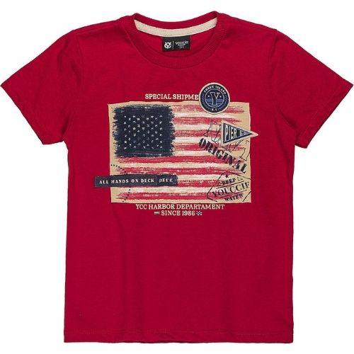 Camiseta Infantil Masculina Vermelha com Bandeira EUA