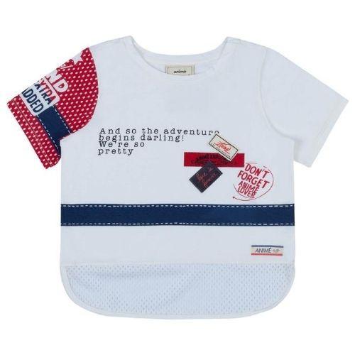 Camiseta Infantil Feminina Off White Barra em Telinha