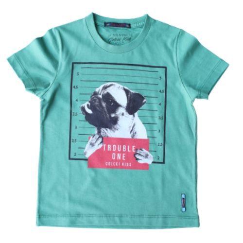 Camiseta Infantil Masculina Verde Pug