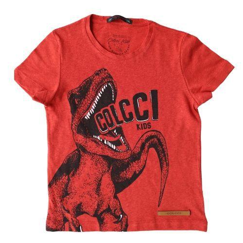 Camiseta Infantil Masculina Vermelha Dinossauro