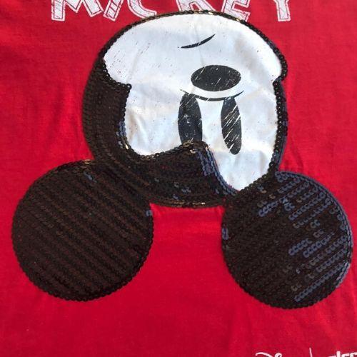 Camiseta Infantil Feminina Vermelha Mickey Paetê
