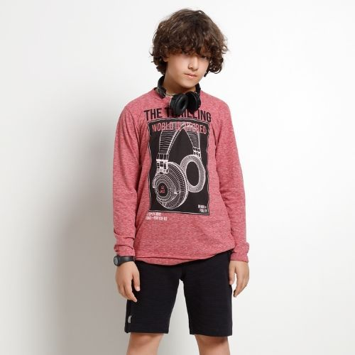 Camiseta Infantil Masculina Vermelho Mescla Fone De Ouvido
