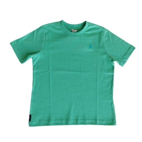 Camiseta Masculina Infantil Cores Sólidas Logo Bordada