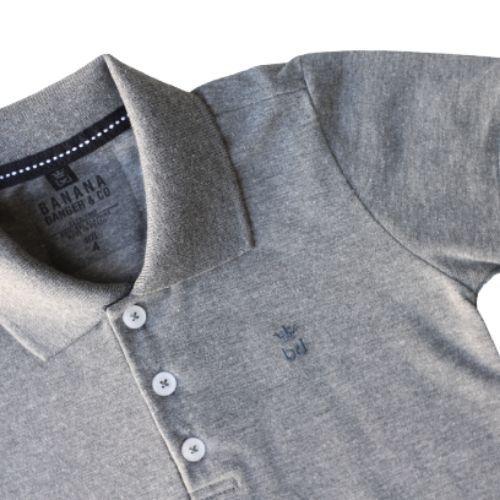 Camiseta  Polo Masculina Infantil Cinza Chumbo