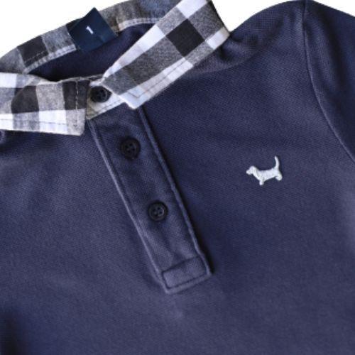 Camiseta Masculina Polo Infantil Gola Xadrez