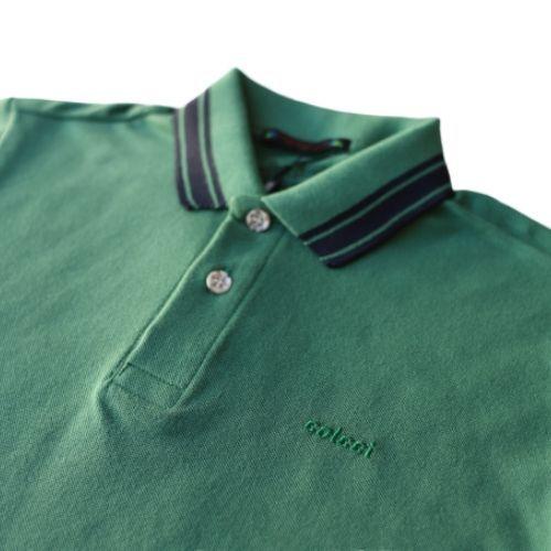 Camiseta Polo Masculina Infantil Verde com Listra Marinho Colcci Fun