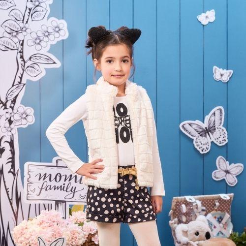 Colete Infantil Feminino Branco Pelinhos