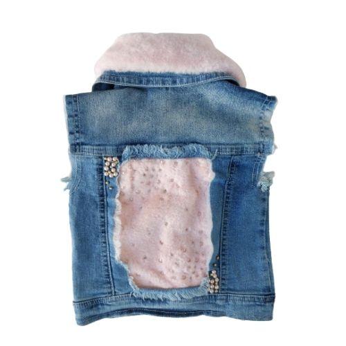 Colete Infantil Feminino Jeans com Gola em Pelúcia Removível Petit Cherie