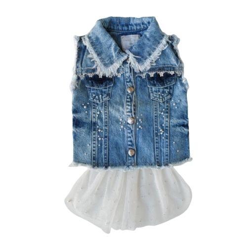 Colete Infantil Feminino Jeans com Tule e Pérolas Petit Cherie
