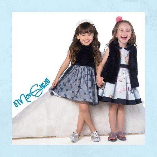 Colete Infantil Feminino Pelo Azul Marinho