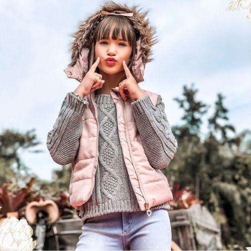 Colete Infantil Feminino Rosa com Capuz Removível Infanti