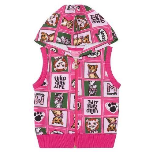 Colete Infantil Feminino Pink Safari com Capuz