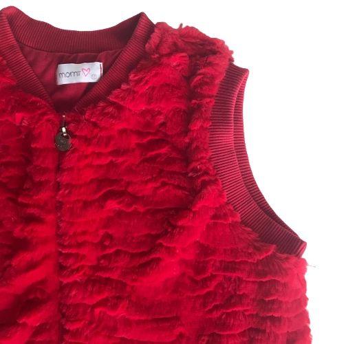 Colete Infantil Feminino Vermelho Pelo Sintético
