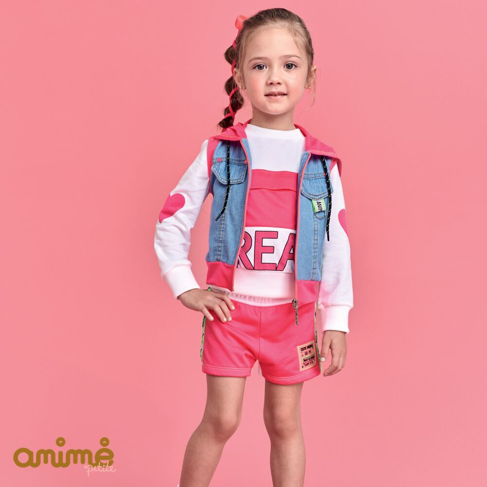 Colete Jeans Infantil Feminino com Capuz Pink