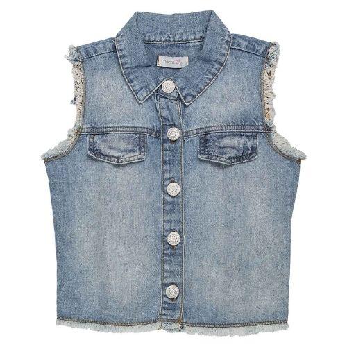 Colete Jeans Infantil Feminino Estampa Costas Momi