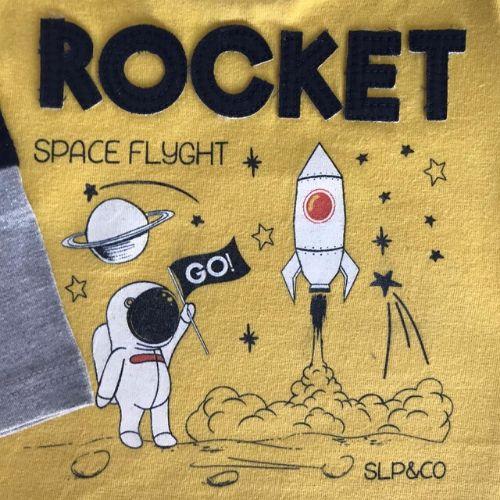 Conjunto Masculino Bebê Body Amarelo Rocket com Calça Moletom