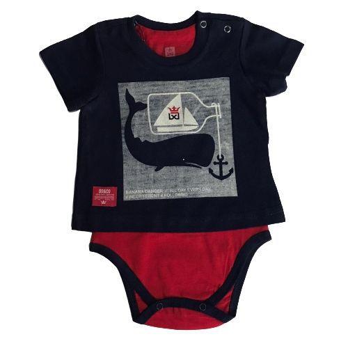 Conjunto Masculino Bebê Body Baleia com Bermuda Náutica