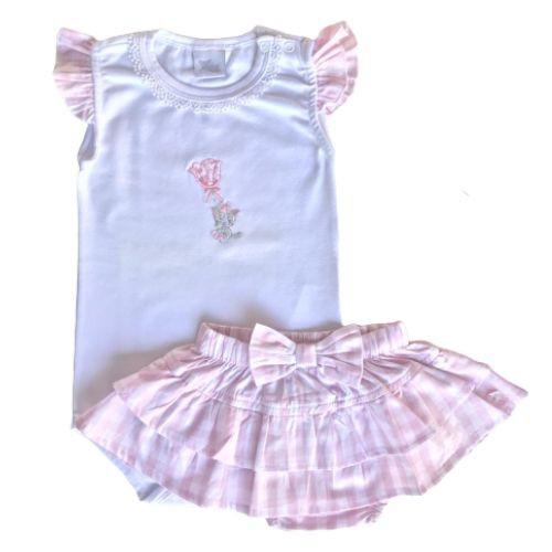 Conjunto Feminino Bebê Body Branco com Saia Xadrez