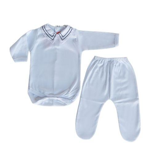 Conjunto  Bebê Body Branco Masculino com Gola Off Bordada e Mijão