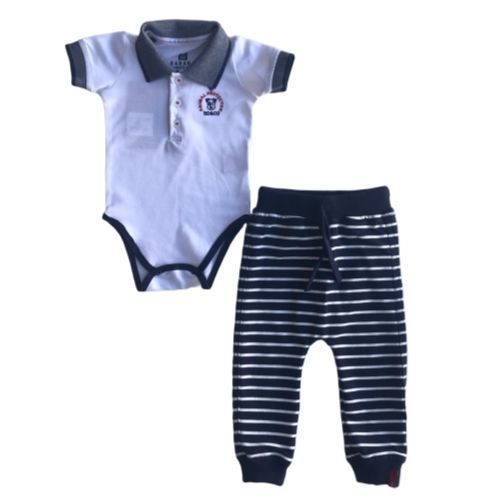Conjunto Masculino Bebê Body Cachorrinho e Calça Listrada
