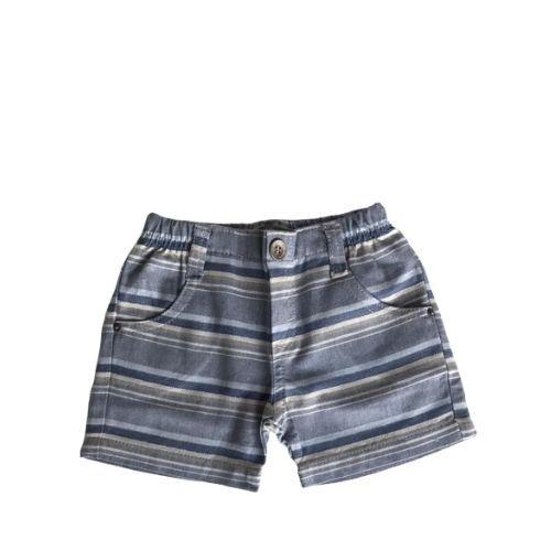 Conjunto Masculino Bebê Body Camisa com Bermuda Listrada