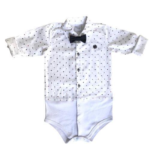Conjunto Masculino Bebê Body Camisa Nipes com Calça e Suspensório Anjos Baby
