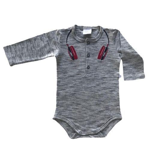 Conjunto Masculino Bebê Body Fone de Ouvido e Calça Vermelha