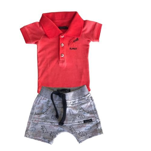 Conjunto Masculino Bebê Body Laranja com Bermuda Dinossauro