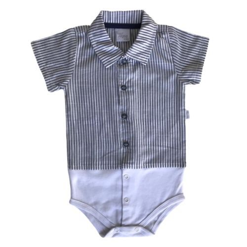 Conjunto Masculino Bebê Body Listrado com Bermuda e Suspensório