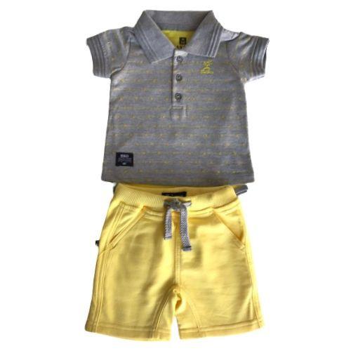 Conjunto Masculino Bebê Body Polo com Bermuda Amarela