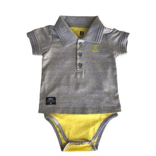 Conjunto Masculino Bebê Body Polo com Bermuda Amarela Banana Danger