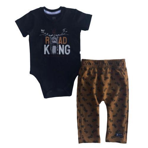Conjunto Masculino Bebê Body Preto Road King com Calça
