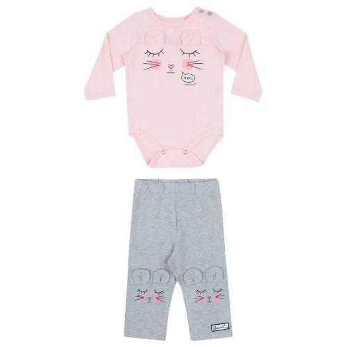 Conjunto Feminino Bebê Body Rosa com Orelhinhas e Legging