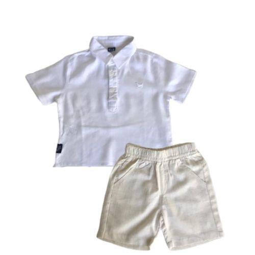 Conjunto Masculino Bebê Camisa e Bermuda em Linho