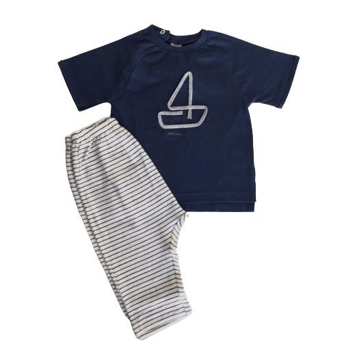 Conjunto Masculino Bebê Camiseta Barquinho Calça Listrada