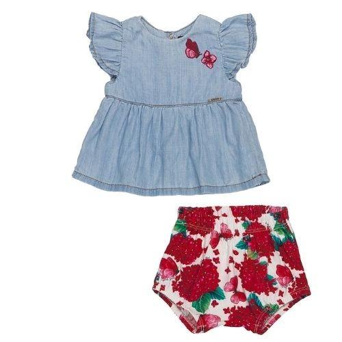 Conjunto  Bebê Feminino Bata Jeans Borboletas com Shorts Floral