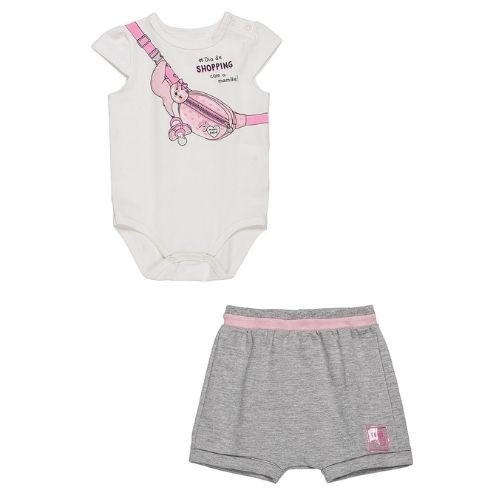 Conjunto Bebê Feminino Body Bicho Preguiça e Shorts