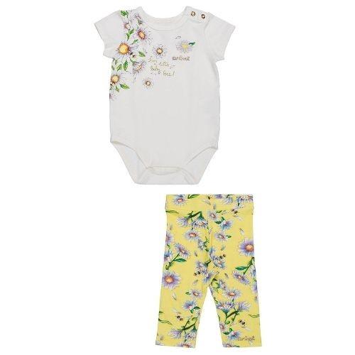 Conjunto  Bebê Feminino  Body Branco com Flores e Legging Amarela