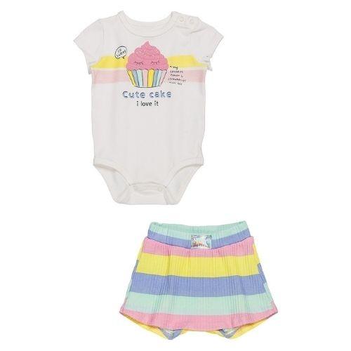Conjunto Bebê Feminino Body com Short Saia Colorido