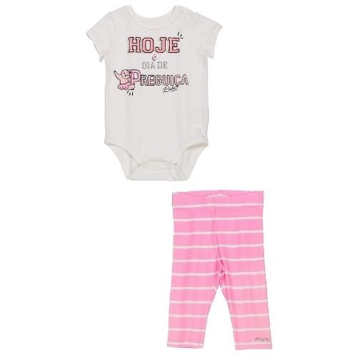 Conjunto Bebê Feminino Body e Legging Listrado
