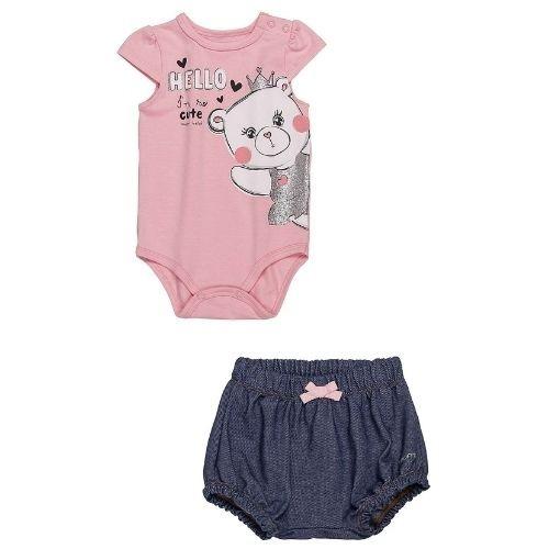 Conjunto Bebê Feminino Body Ursinha  e Tapa Fralda