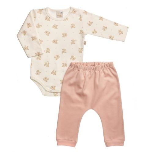 Conjunto Bebê Feminino Body Ursinhas com Mijão e Proteção Antiviral Anjos Baby