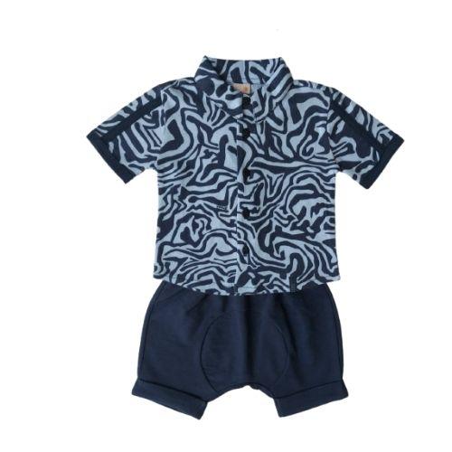 Conjunto Bebê Masculino Camisa Zebra e Bermuda